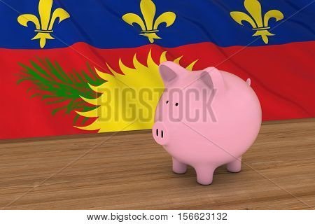 Guadeloupe Finance Concept - Piggybank In Front Of Guadeloupe Flag 3D Illustration