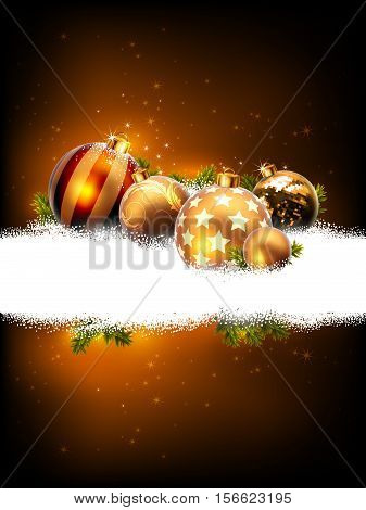 Christmas golden background decorated fir balls on snow