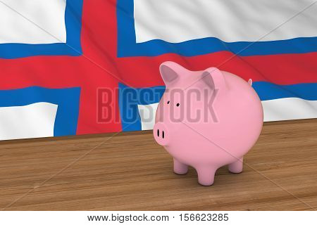 Faroe Islands Finance Concept - Piggybank In Front Of Faroese Flag 3D Illustration