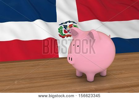 Dominican Republic Finance Concept - Piggybank In Front Of Dominican Flag 3D Illustration
