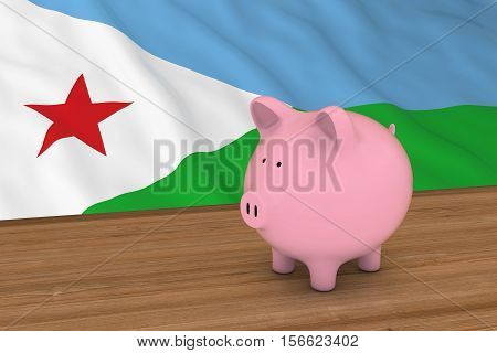 Djibouti Finance Concept - Piggybank In Front Of Djiboutian Flag 3D Illustration
