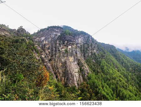 Panorama of Paro valley and Taktsang lakhang aka tigress nest monastery Bhutan