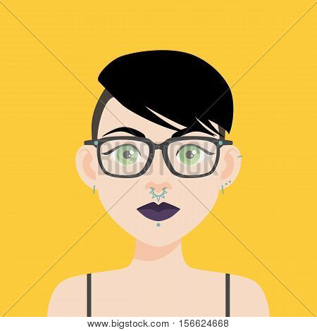 Flat Vector Illustration Of A Girl With Green Eyes And Black Hair. Dark Purple Lips, Thick Eyebrows,