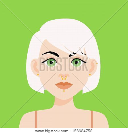 Flat Vector Illustration Of A Girl With Green Eyes And White Hair. Soft Lips, Thick Black Eyebrows A