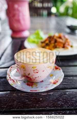 Cup Of Cappuccino, Cup Of Coffee, Cup Of Coffee On Wooden Table