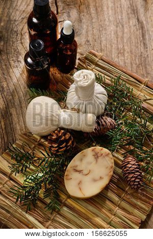 Spa treatment with Christmas decorations