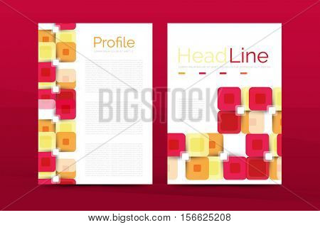 Square business abstract background, corporate print template.