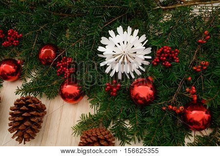 Christmas background with decoration details.