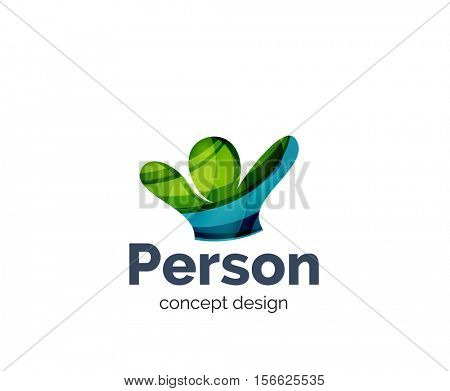 Happy person logo business branding icon, created with color overlapping elements. Glossy abstract geometric style, single logotype