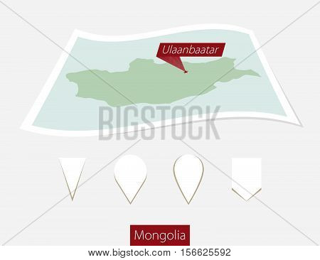 Curved Paper Map Of Mongolia With Capital Ulaanbaatar On Gray Background. Four Different Map Pin Set