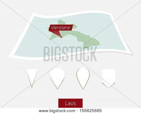 Curved Paper Map Of Laos With Capital Vientiane On Gray Background. Four Different Map Pin Set.
