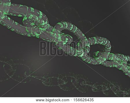 Chain with digital links black background 3D illustration.