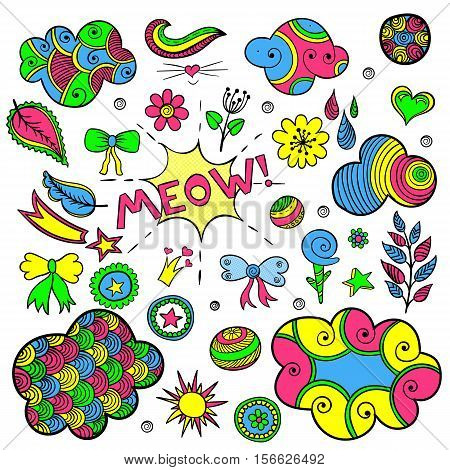 Vector set of fashionable patches elements like heart, flower, drop, cloud, leaf, star, sun. Vector hand drawn cute and funny stikers kit. Modern doodle pop art sketch badges and pins