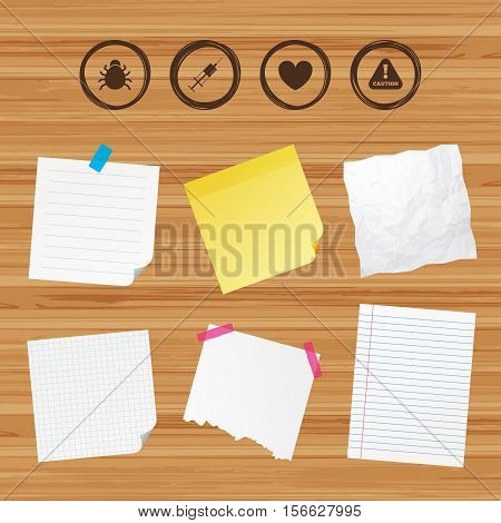 Business paper banners with notes. Bug and vaccine syringe injection icons. Heart and caution with exclamation sign symbols. Sticky colorful tape. Vector