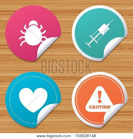Round stickers or website banners. Bug and vaccine syringe injection icons. Heart and caution with exclamation sign symbols. Circle badges with bended corner. Vector