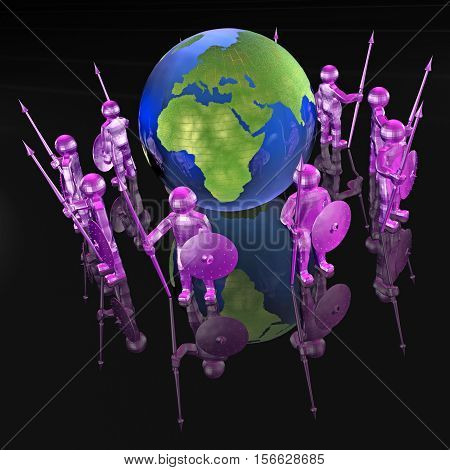 Purple armed men with globe on black background 3D illustration.