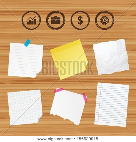 Business paper banners with notes. Business icons. Graph chart and case signs. Dollar currency and gear cogwheel symbols. Sticky colorful tape. Vector