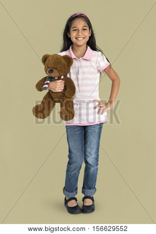 Girl Cheerful Studio Portrait Concept