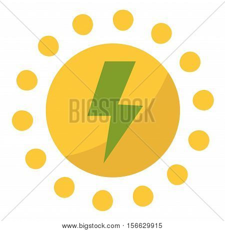 Vector sun solar energy icon. Sun solar energy symbols electricity technology renewable ecology. Industrial clean electrical sun solar energy alternative panel modern innovation generator.