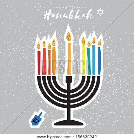 Colorful Happy Hanukkah Greeting card on grey background. Jewish holiday with menorah - traditional Candelabra, candles and dreidels - spinning top. Vector design illustration
