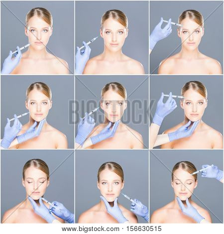 Doctor injecting in a beautiful face of a young woman. Plastic surgery concept. Set collage.