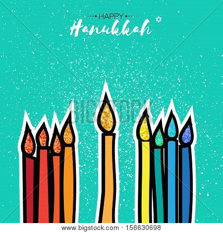 Colorful Happy Hanukkah Greeting card with gold glitter elements on orange background. Jewish holiday with menorah - traditional Candelabra, candles. Vector design illustration