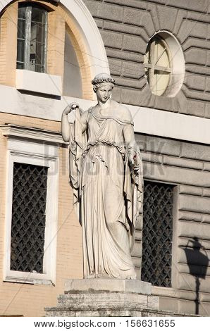 Allegorical statue of Spring in Popolo Square of Rome Italy carved by Filippo Gnaccarini