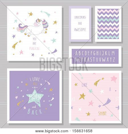 Cute cards with unicorn and gold glitter stars. For birthday invitation baby shower Valentine's day. I love you to the moon and back. Hand written narrow font. With two seamless patterns.