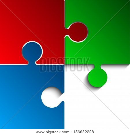 3 Puzzles Red Green Blue RGB Pieces Arranged in a Square - JigSaw - Vector Illustration. Blank Template or Cutting Guidelines. Vector Background.