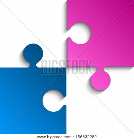 2 Puzzles Pink Blue Pieces Arranged in a Square - JigSaw - Vector Illustration. Blank Template or Cutting Guidelines. Vector Background.
