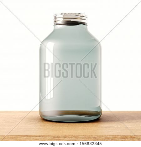 One empty jar of transparent glass with closed metal cap on the wood desk.White wall at background.Clean glassy container. Drinks, food storage concept.3d rendering
