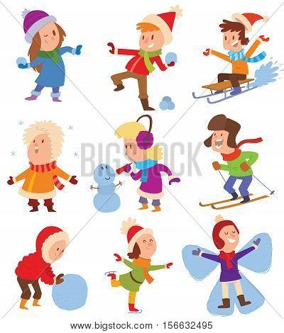 Christmas kids playing winter games. Skating, skiing, sledding, girl dresses up Christmas tree, boy makes a snow man, children playing snowballs. Cartoon New Year winter holidays background.