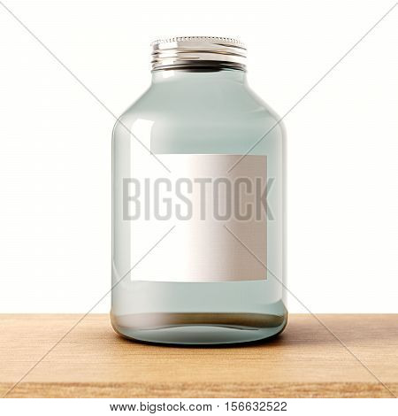 One empty jar of transparent glass with closed metal cap on the wood desk.White wall at background.Clean glassy container and white mockup label.Drinks, food storage concept.3d rendering