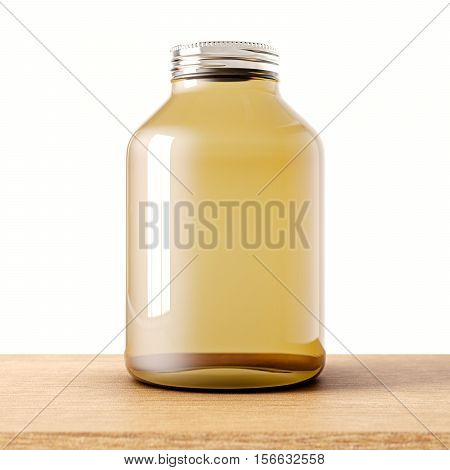 One empty jar of transparent glass with closed metal cap on the wood desk.White wall background.Clean glassy container. Drinks, food modern storage concept.3d rendering