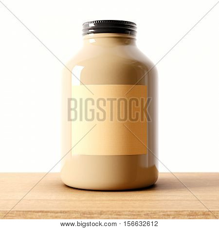 Closeup of one blank not transparent glass jar on the wood desk and white wall background.Empty glassy container , craft mockup label in center.Drinks, food storage concept.3d rendering