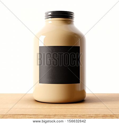 Closeup of one blank not transparent glass jar on the wood desk and white wall background.Empty glassy container , black mockup label in center.Drinks, food storage concept.3d rendering