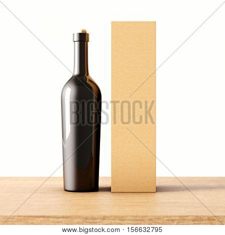 Closeup one not transparent gray glass bottle of wine on the wooden desk, white wall background.Empty glassy container concept and mockup craft paper bag for bottles.3d rendering. Front view