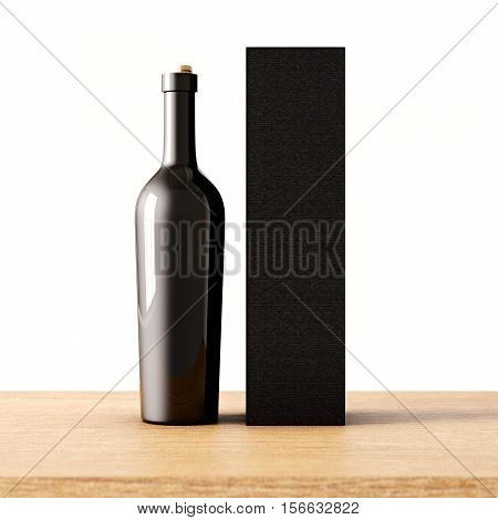 Closeup one not transparent gray glass bottle of wine on the wooden desk, white wall background.Empty glassy container concept and mockup black carton paper bag for bottles.3d rendering. Front view