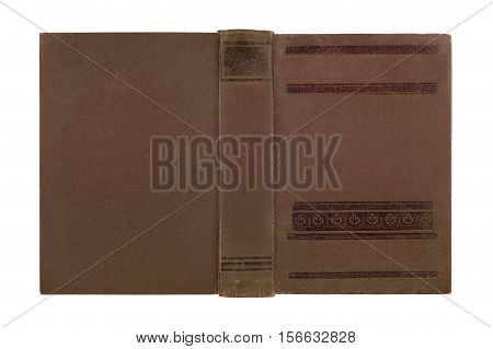 Closeup of antique leather book cover isolated on white background .