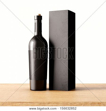 Closeup one not transparent gray glass bottle of wine on the wooden desk, white wall background.Empty glassy container concept and mockup black paper bag for bottles.3d rendering