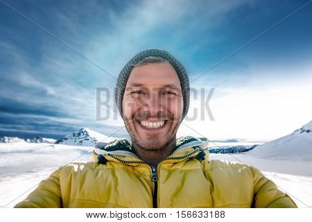 wintersports adventure male on mountains