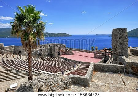 amphitheater inside the fortress of Herceg Novi old town and kotor bay , Montenegro