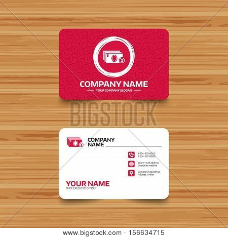 Business card template with texture. Cash and coin sign icon. Paper money symbol. For cash machines or ATM. Phone, web and location icons. Visiting card  Vector