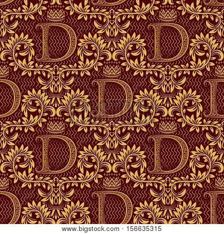Damask seamless pattern repeating background. Gold burgundy floral ornament with D letter and crown in baroque style. Antique golden repeatable wallpaper.