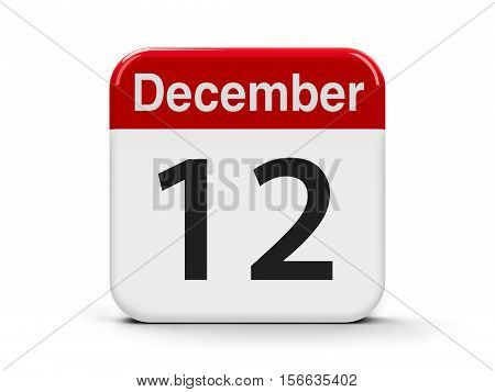 Calendar web button - The Twelfth of December three-dimensional rendering 3D illustration