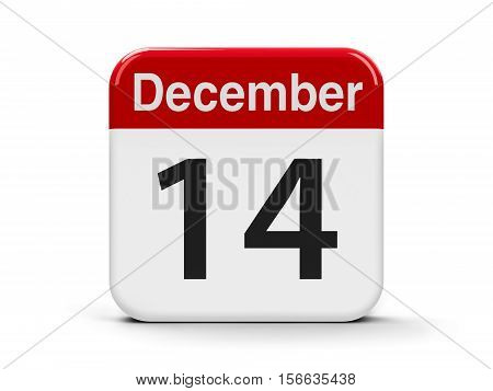 Calendar web button - The Fourteenth of December three-dimensional rendering 3D illustration