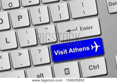 Visit Athens Blue Keyboard Button