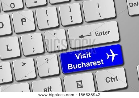 Visit Bucharest Blue Keyboard Button