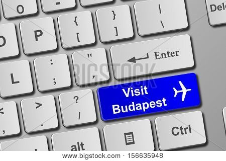 Visit Budapest Blue Keyboard Button