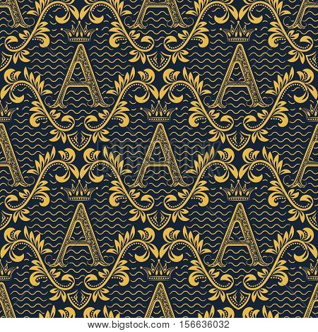 Damask seamless pattern repeating background. Gold blue floral ornament with A letter and crown in baroque style. Antique golden repeatable wallpaper.